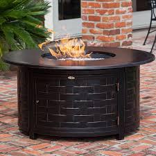 fire sense 50000 btu propane gas 48 inch round fire pit woven cast aluminum 62208