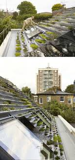 This green roof on a home in London, has a series of terraced ...