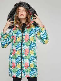 fl print faux fur hooded women s cotton clothes