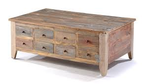 Coffee Table:Solid Pine Wood Rustic Eight Drawer Coffee Table With Lift Top  Storage With