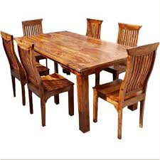 Dallas Ranch Solid Wood Rustic Dining Table Chairs Hutch Set Earth