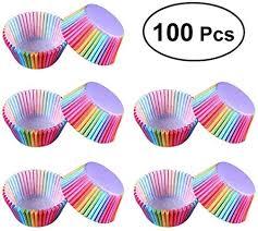 Chainscroll <b>100 pcs PVC</b> Bucket Rainbow Cake Paper Cup ...