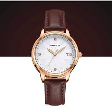 sanda trendy quartz watches round dial flower numeral simple leather strap watches for women newchic