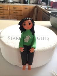 Girl sits on cake