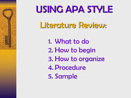 Literature Review In Apa Using Apa Style Literature Review What To Do How To Begin