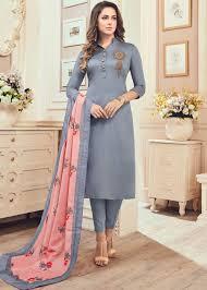 Grey Cotton Readymade Salwar Kameez