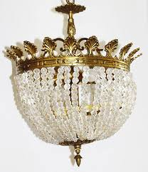 2 of 3 rare french empire antique rock crystal beaded basket chandelier gorgeous