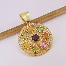 multi stone pendant 18k gold plated pendant handmade
