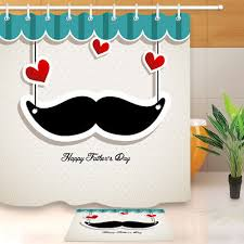father s day mustache shower curtain liner waterproof polyester fabric hooks