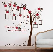 red flowers family tree wall photo frame wall stickers bedroom living room vinyl diy love home decoration wallpaper art decal xsq