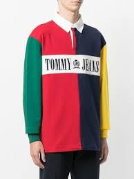 tommy jeans block colour rugby shirt