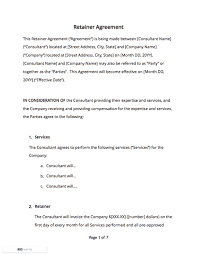 retainer consulting agreement contract templates and agreements with free samples