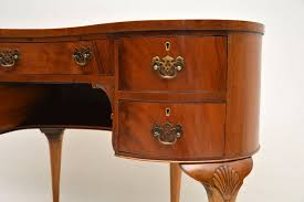 antique mahogany leather top kidney desk