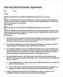 Simple Nda Template One Way Printable Non Disclosure Agreement Template Simple