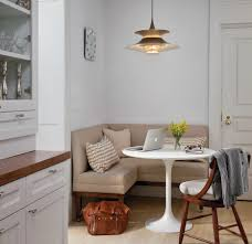stylish and fy dining room with banquette bench small dining room design with round white