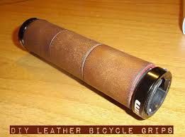 how to make your own diy leather bicycle grips with waste materials