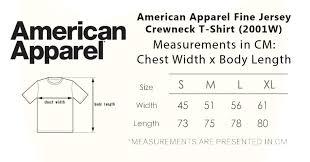American Apparel Measurement Chart American Apparel Size Chart Favorite
