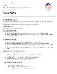 Resume Formats For It Freshers Resume Samples For Teaching Sample