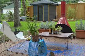 funky patio furniture. Funky Outdoor Furniture Patio Eclectic With Blue Garden Stool. Image By: Sarah Greenman