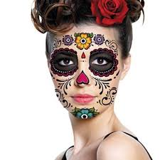 sugar skull face makeup temporary tattoo