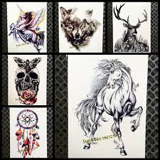 черный конь эскиз временные татуировки наклейки женщины мужчины боди