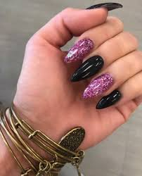 nails black nails glitter nails purple purple glitter pink pink glitter pointy nails stis sti nails nail design mani manicure beautiful