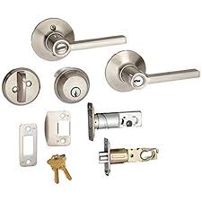 schlage door handle parts. Deadbolt, Keyed 1 Side, And Latitude Lever Security Set (Satin Nickel) FB50VLAT619 Schlage Door Handle Parts U