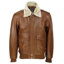 mensreal leather tan brown vintage pilot removable fur collar er jacket