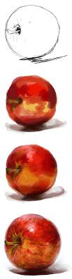 digital photo art painting tutorial apple painting exercise by