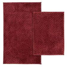 palazzo 2 piece rug washable bathroom rug set in chili red