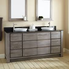 rustic double sink bathroom vanity some drawers brown laminated wood white ceramic round sink double sink