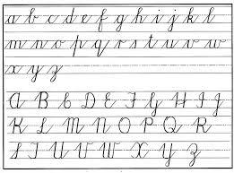 Cursive Writing Template Cursive Handwritng Chart Lower