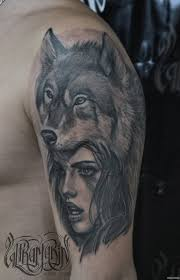 картинка девушки и волка