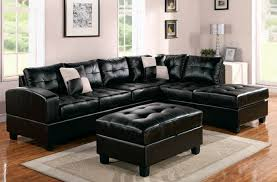 black leather couch. Elegant Family Room Interior Design With Black Leather Sofa Cushions Also Table Couch