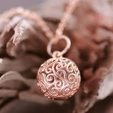 harmony ball 9k rose gold filigree pendant