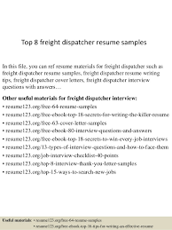 Top 8 freight dispatcher resume samples In this file, you can ref resume  materials for ...