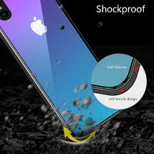 tempered glass case for iphone 7 8 x 6 6s plus grant color blue ray