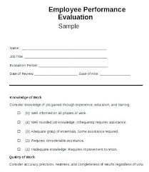 Employees Performance Appraisal Form Awesome Pretty Work Evaluation ...