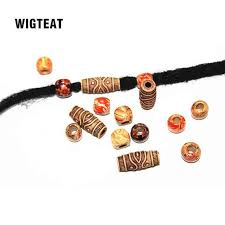 10pcs national style resin hair braid dread dreadlock beads cuffs clips wooden color approx 5mm 6mm inner hole hair accessories