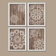 >wood wall art bedroom wall decor canvas or prints bathroom decor   wall art artwork mandala wood grain doilies circle flower medallion design brown white set of 4 prints bedroom decor bathroom includes 4 unframed