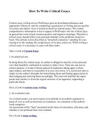 Essay About Critical Thinking Critical Thinking Essay Exle How To Write A Critical Essay