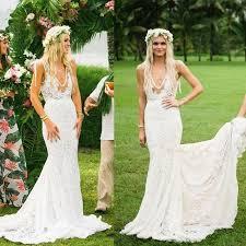 boho dresses wedding. Boho Wedding Dresses V neck Lace Mermaid Simple Country Illusion