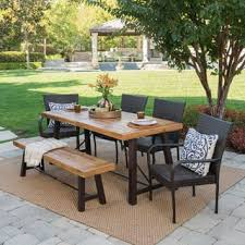 outdoor wood dining furniture. Salons Outdoor 6-Piece Rectangle Wicker Wood Dining Set By Christopher Knight Home Furniture I