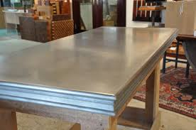 matte zinc countertop with fancy edge detail