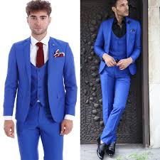 Groom Mens Formal Wedding Tuxedos Royal Blue Slim Party