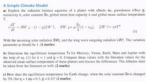 a simple climate model a explain the radiation balance equation of a planet with albedo