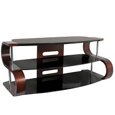 black glass table with three layers combined with curving brown wooden side and silver steel stand
