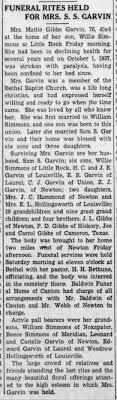 Mattie Gibbs Garvin funeral - Newspapers.com