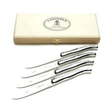 iole by jean dubost olivewood steak knives set of 6 stainless steel 4 s
