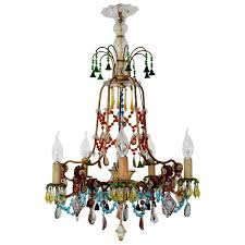 french multicolor murano glass gilt chandelier bohemian style